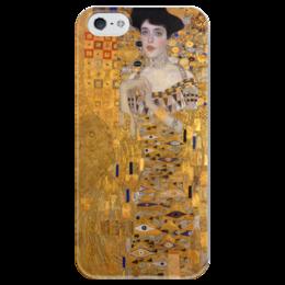 """Чехол для iPhone 5 глянцевый, с полной запечаткой """"Портрет Адели Блох-Бауэр I"""" - картина, климт"""