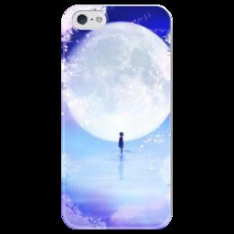 """Чехол для iPhone 5 глянцевый, с полной запечаткой """"Девушка на фоне лунного озера"""" - арт, девушка, луна, озеро"""