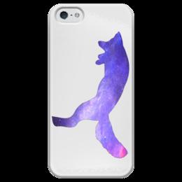 """Чехол для iPhone 5 глянцевый, с полной запечаткой """"Space animals"""" - space, космос, fox, jump, лиса"""