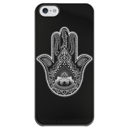 "Чехол для iPhone 5 глянцевый, с полной запечаткой ""Hamsa"" - арт, hamsa, хамса, амулет, рука бога"