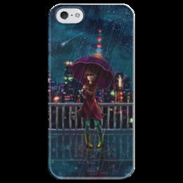 """Чехол для iPhone 5 глянцевый, с полной запечаткой """"Ночное небо"""" - ночь, дождь, аниме, звёзды, крыша"""