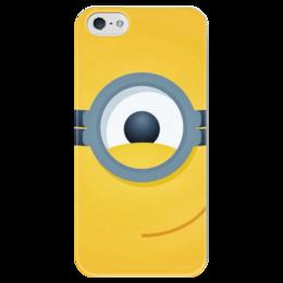 """Чехол для iPhone 5 глянцевый, с полной запечаткой """"Миньон"""" - миньон, мульт, глаз, желтый"""