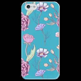 """Чехол для iPhone 5 глянцевый, с полной запечаткой """"Цветочное настроение"""" - арт, цветы, цветочное настроение"""