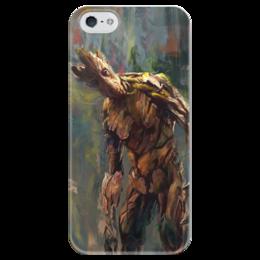 """Чехол для iPhone 5 глянцевый, с полной запечаткой """"Грут (Groot)"""" - комиксы, марвел, ракета, стражи галактики, guardians of the galaxy"""