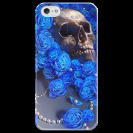 """Чехол для iPhone 5 глянцевый, с полной запечаткой """"Череп"""" - skull, череп, цветы, смерть, розы"""