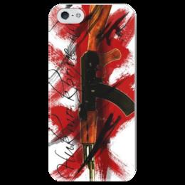 """Чехол для iPhone 5 глянцевый, с полной запечаткой """"треш полька"""" - тату, треш полька, trash polka"""