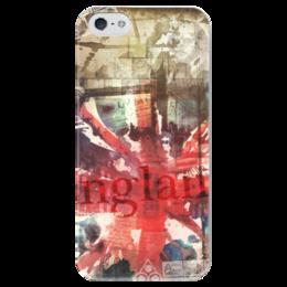 """Чехол для iPhone 5 глянцевый, с полной запечаткой """"Английский флаг"""" - uk, великобритания, английский флаг, union jack"""
