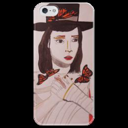 """Чехол для iPhone 5 глянцевый, с полной запечаткой """"Монархиня"""" - арт, бабочки, девушка"""
