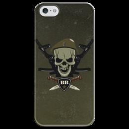 """Чехол для iPhone 5 глянцевый, с полной запечаткой """"ВВ!!!"""" - внутренние войска, сила, вв, оливковый берет, автомат"""