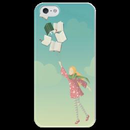 """Чехол для iPhone 5 глянцевый, с полной запечаткой """"Полет Фантазии"""" - дети, полет, небо, облака, девочка, фантазия, книги, ребенок, книга, девочка с книгами"""
