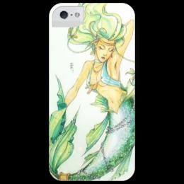 "Чехол для iPhone 5 глянцевый, с полной запечаткой ""Русалка"" - sea, mermaid, морская дева"