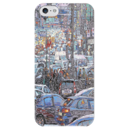 """Чехол для iPhone 5 глянцевый, с полной запечаткой """"Охотный ряд"""" - арт, москва, город, пейзаж, живопись"""