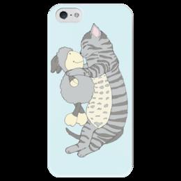 """Чехол для iPhone 5 глянцевый, с полной запечаткой """"Котенок с овечкой"""" - кот, sleep, cat, сон, девушке, cute, овца, тепло, ребенку, спящий кот"""