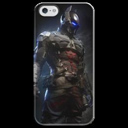"Чехол для iPhone 5 глянцевый, с полной запечаткой ""Рыцарь Аркхема"" - арт, batman, бэтмен, рыцарь аркхема"