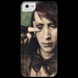 """Чехол для iPhone 5 глянцевый, с полной запечаткой """"Born Villain"""" - готика, звезда, рок, портрет, оригинально, мэрилин, marilyn manson, эксклюзив, marilyn, manson"""