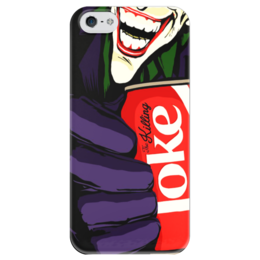 """Чехол для iPhone 5 глянцевый, с полной запечаткой """"Joker"""" - joker, комиксы, джокер, шутка, злодей"""
