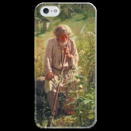 """Чехол для iPhone 5 глянцевый, с полной запечаткой """"Пасечник (картина Крамского)"""" - картина, крамской"""