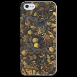 """Чехол для iPhone 5 глянцевый, с полной запечаткой """"Яблоки на ветках"""" - картина, серебрякова"""