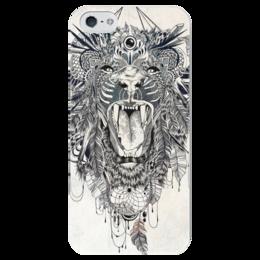 """Чехол для iPhone 5 глянцевый, с полной запечаткой """"Тигр. Маска"""" - графика, маска, тигр"""