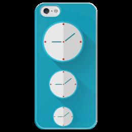 "Чехол для iPhone 5 глянцевый, с полной запечаткой ""Three clock"" - арт, часы, time, время, clock, циферблат"