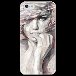 """Чехол для iPhone 5 глянцевый, с полной запечаткой """"Девушка"""" - арт, girl, beautiful"""
