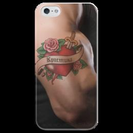 """Чехол для iPhone 5 глянцевый, с полной запечаткой """"Кристина"""" - 14 февраля, для девочек, кристина, кристиночка"""