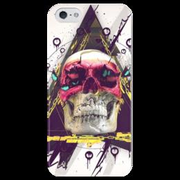 "Чехол для iPhone 5 глянцевый, с полной запечаткой ""Skull in triangle"" - skull, череп, swag, иллюминаты, illuminati"
