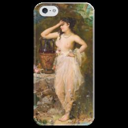 "Чехол для iPhone 5 глянцевый, с полной запечаткой ""Прекрасная купальщица"" - картина, зацка"