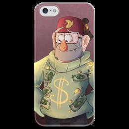 """Чехол для iPhone 5 глянцевый, с полной запечаткой """"Гравити Фолз"""" - деньги, gravity falls, стэн, гравити фолз, пайнс"""
