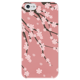 """Чехол для iPhone 5 глянцевый, с полной запечаткой """"Сакура"""" - лето, цветы, весна, розовый, вишня, азия, дерево, китай, япония, сакура"""
