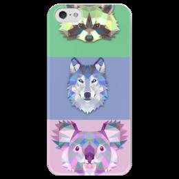 """Чехол для iPhone 5 глянцевый, с полной запечаткой """"Абстрактные животные """" - животные, волк, минимализм, енот, коала"""