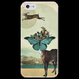 """Чехол для iPhone 5 глянцевый, с полной запечаткой """"JUMP!"""" - олень, хипстер, hipster, deer"""