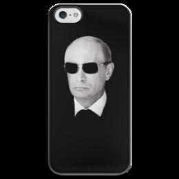 """Чехол для iPhone 5 глянцевый, с полной запечаткой """"Путин – Всё путём (чёрный)"""" - любовь, москва, очки, владимир, россия, патриотизм, политика, путин, президент, putin"""