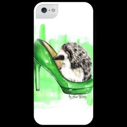 "Чехол для iPhone 5 глянцевый, с полной запечаткой ""Ёж в туфельке"" - арт, мода, fashion, еж, artberry"