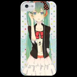 """Чехол для iPhone 5 глянцевый, с полной запечаткой """"Хатсуне Мику """" - аниме, япония, синие волосы, яркое, музыка, девушка"""