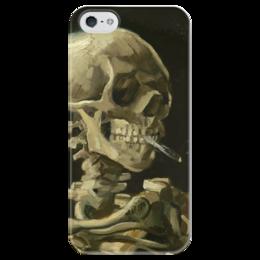 """Чехол для iPhone 5 глянцевый, с полной запечаткой """"Череп с горящей сигаретой"""" - картина, ван гог"""