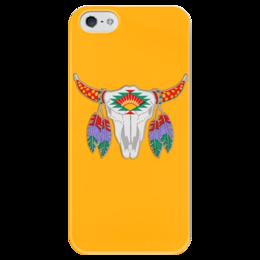 """Чехол для iPhone 5 глянцевый, с полной запечаткой """"Этнический бык"""" - 23 февраля, желтый, этно, бык, bull"""