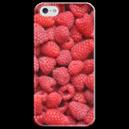 """Чехол для iPhone 5 глянцевый, с полной запечаткой """"Малина"""" - ягоды, малина, raspberry"""