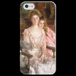 """Чехол для iPhone 5 глянцевый, с полной запечаткой """"Миссис Фиск Уоррен и ее дочь Рэйчел"""" - картина, сарджент"""