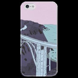 """Чехол для iPhone 5 глянцевый, с полной запечаткой """"Мост """" - море, рисунок, розовый, закат, мост"""