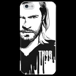 """Чехол для iPhone 5 глянцевый, с полной запечаткой """"Тор  """" - комиксы, мстители, avengers, марвел, thor"""