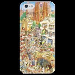 """Чехол для iPhone 5 глянцевый, с полной запечаткой """"Барселона"""" - fun, people, city, barcelona, барселона, spain, gaudi, гауди"""