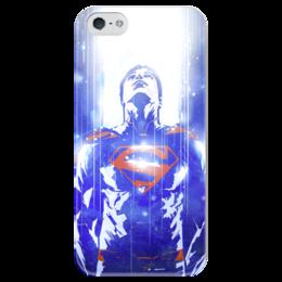 """Чехол для iPhone 5 глянцевый, с полной запечаткой """"Супермен (Superman)"""" - комиксы, dc, dc comics, супс, супермэ"""