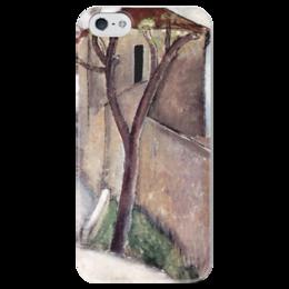 """Чехол для iPhone 5 глянцевый, с полной запечаткой """"Дерево и дом"""" - картина, модильяни"""