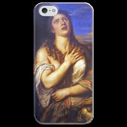 """Чехол для iPhone 5 глянцевый, с полной запечаткой """"Кающаяся Мария Магдалина (Тициан)"""" - картина, тициан"""