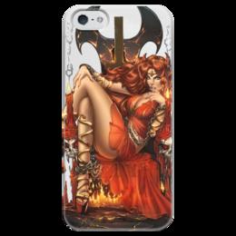 """Чехол для iPhone 5 глянцевый, с полной запечаткой """"Чертовка"""" - рисунок, пинап, фэнтэзи, трон, чертовка"""