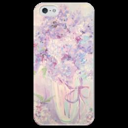 """Чехол для iPhone 5 глянцевый, с полной запечаткой """"сирень"""" - арт, цветы, букет, сирень"""