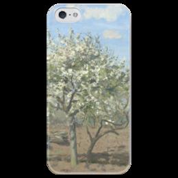 """Чехол для iPhone 5 глянцевый, с полной запечаткой """"Фруктовый сад в цвету"""" - картина, писсарро"""