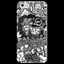 """Чехол для iPhone 5 глянцевый, с полной запечаткой """"Иллюстрация"""" - баран, козел, звезда, ананас, люди"""