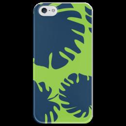 """Чехол для iPhone 5 глянцевый, с полной запечаткой """"Тропические листья"""" - стиль, листья, ярко, сочно, джунгли"""